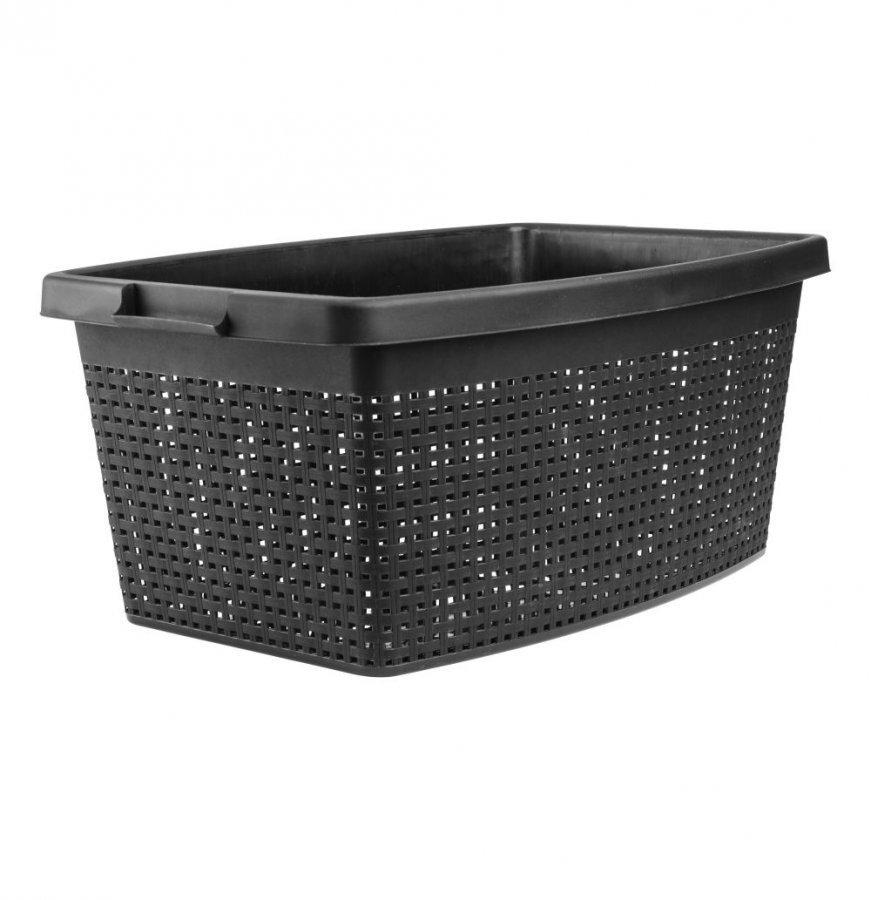 Plast1 Rattan Pyykkikori Musta 40 L
